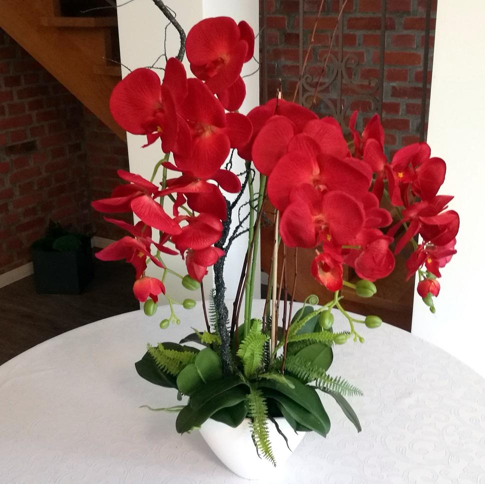 Czerwony storczyk w białej porcelanie nr.127