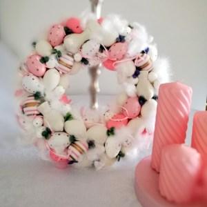 Wianek Wielkanocny różowo-biały nr 130