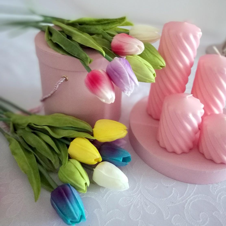 Komplet świec 4 szt. perłowo różowe