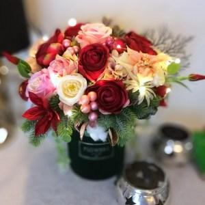 Zielone pudełko z kwiatami Ciepłe Chwile nr 213