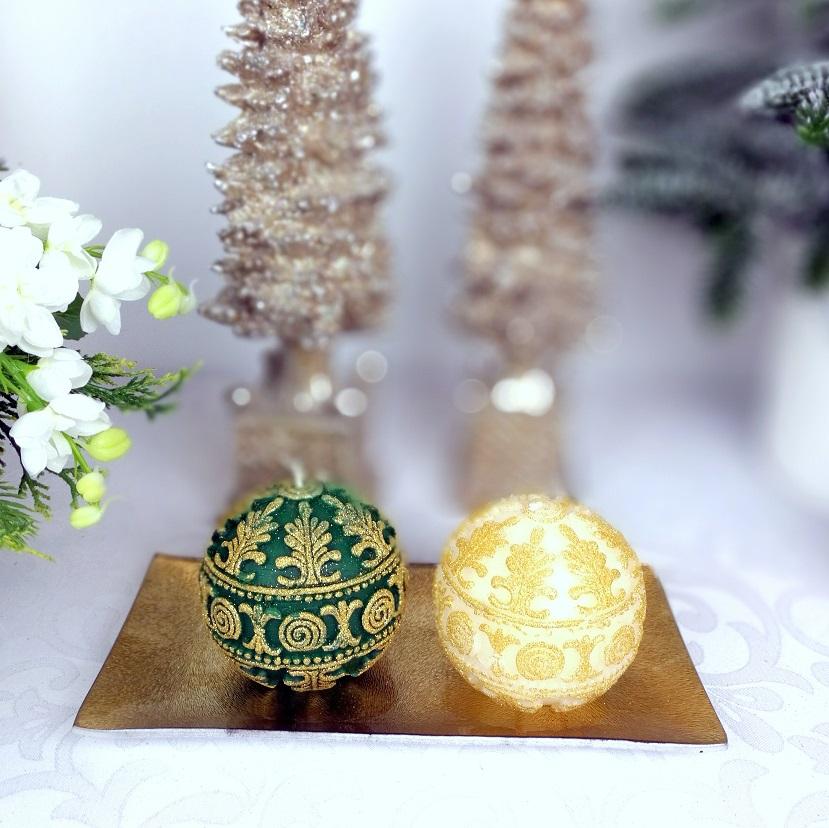 Świeca z brokatem złota