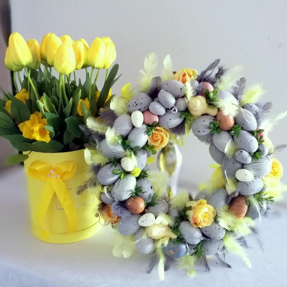 Komplet żółte tulipany i wianek w szarości