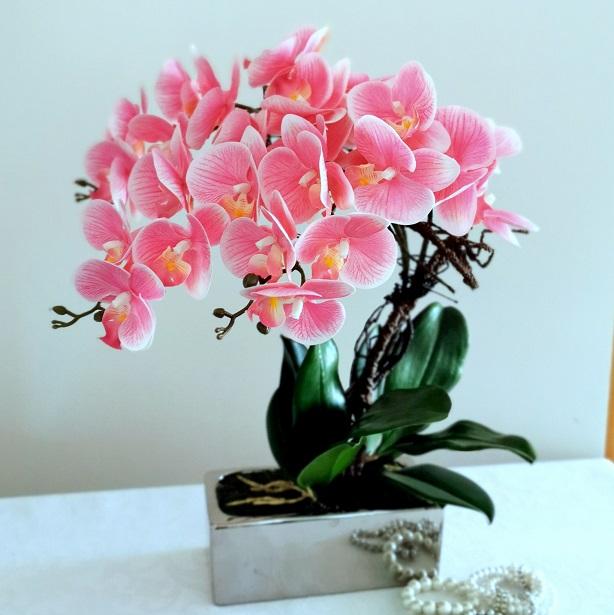 Różowe storczyki w srebrnej donicy nr 343