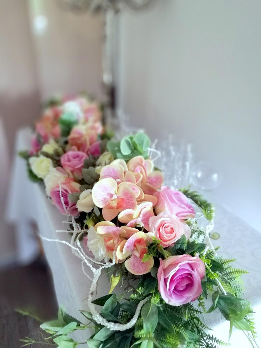 Girlanda kwiatowa różowe storczyki nr 355