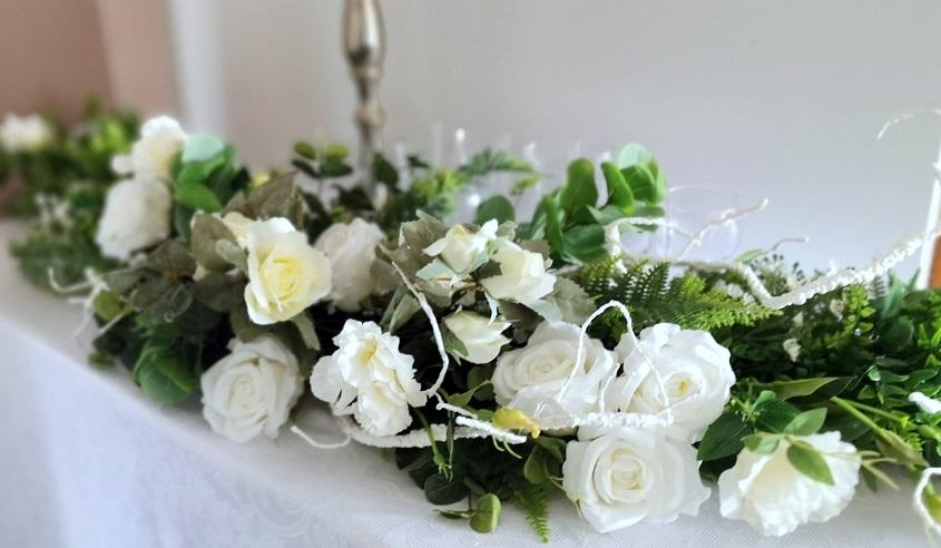 Girlanda kwiatowa białe kwiaty nr 356