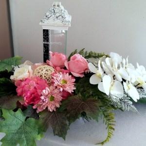 Stroik nagrobny odcienie bieli i różu nr 345