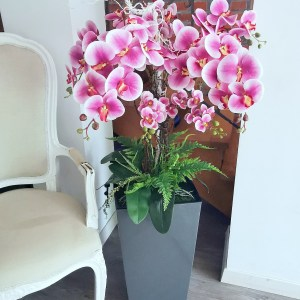 Różowe storczyki w szarej donicy nr 359