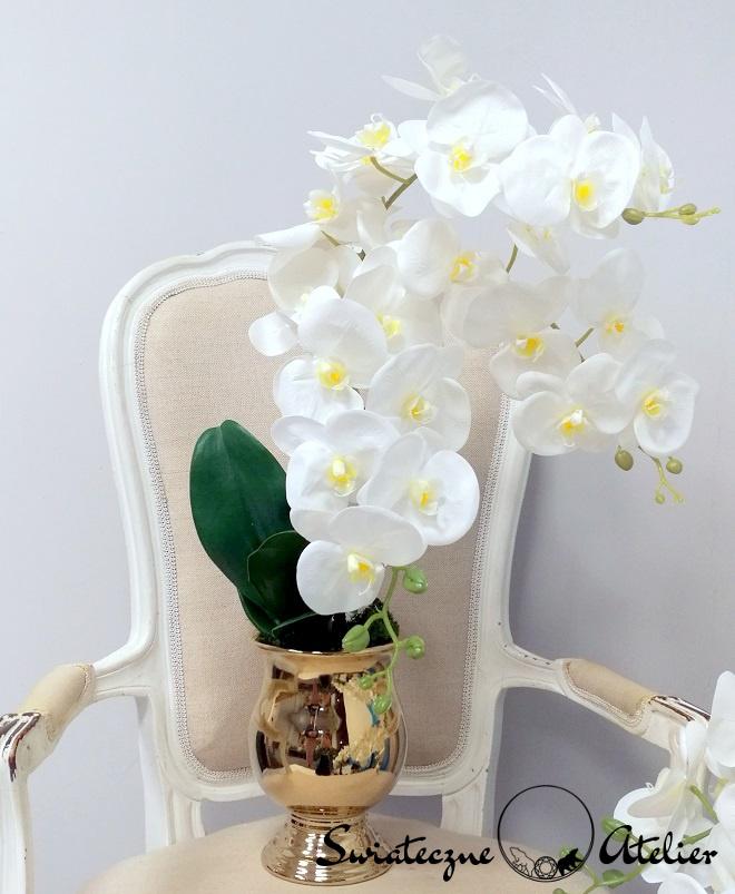 Białe storczyki w złotej donicy 2 nr 374