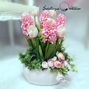 Wiosenna kompozycja w różu tulipany i hiacynty nr 423