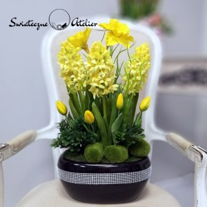 Wiosenna kompozycja kwiatowa żółta nr 428