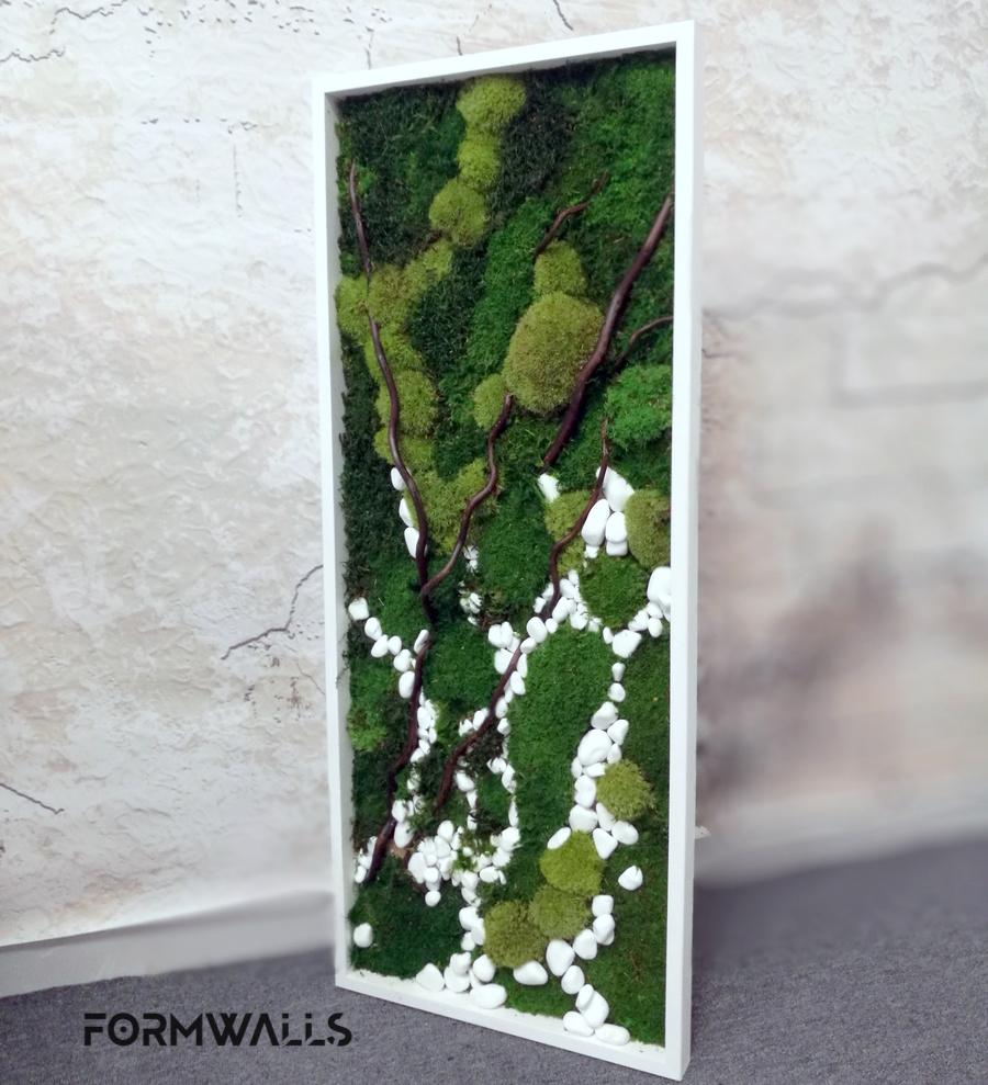 Zielony obraz z mchów stabilizowanych 100x 40 cm