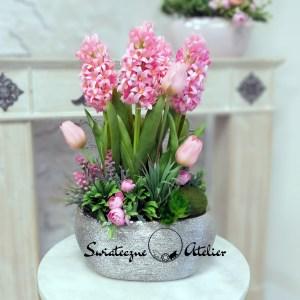 Wiosenna kompozycja kwiatowa różowe hiacynty nr 436