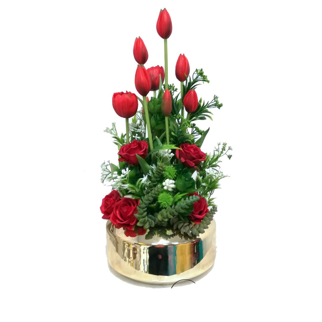 Gumowe tulipany w złotej donicy nr 457