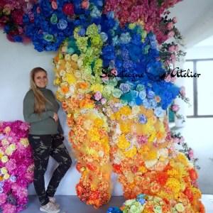 Ściana kwiatowa przestrzenna Tęcza