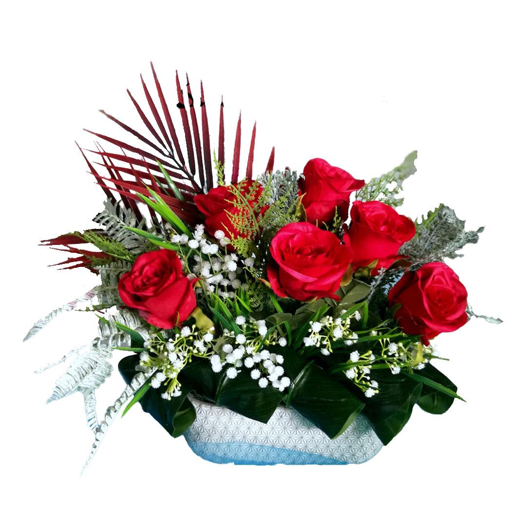 Stroik kwiatowy w czerwieni nr 489
