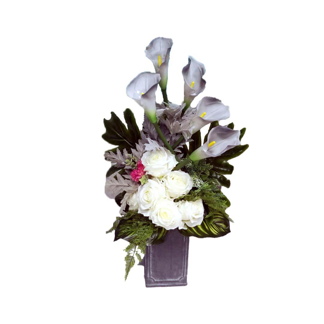 Bukiet nagrobny Szarość i biel roz. L nr 556