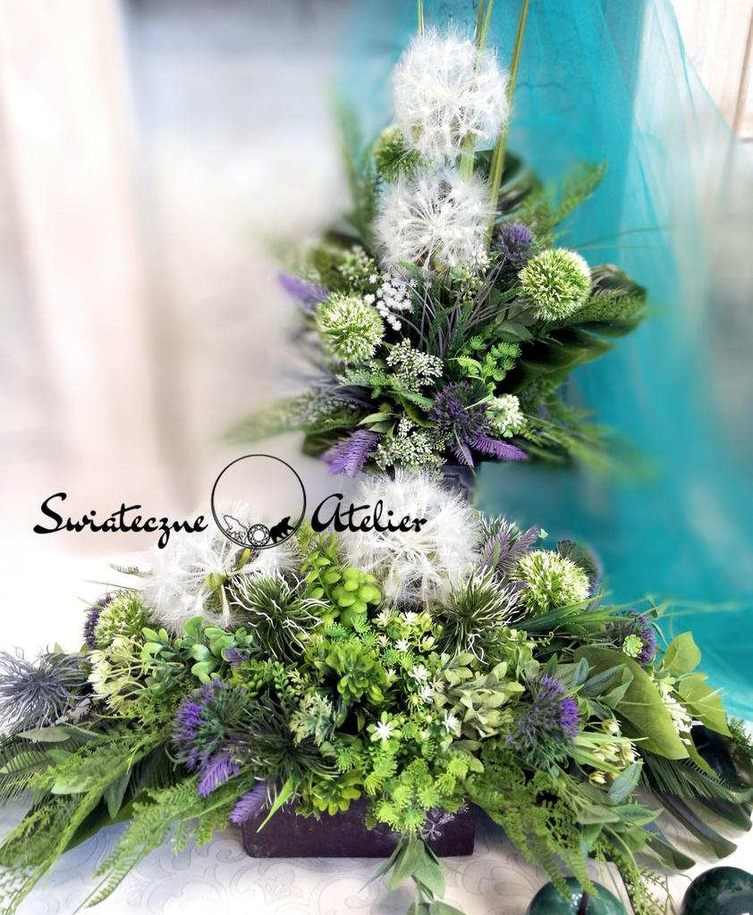Stroik kwiatowy z bukietem Zielona etiuda nr 531