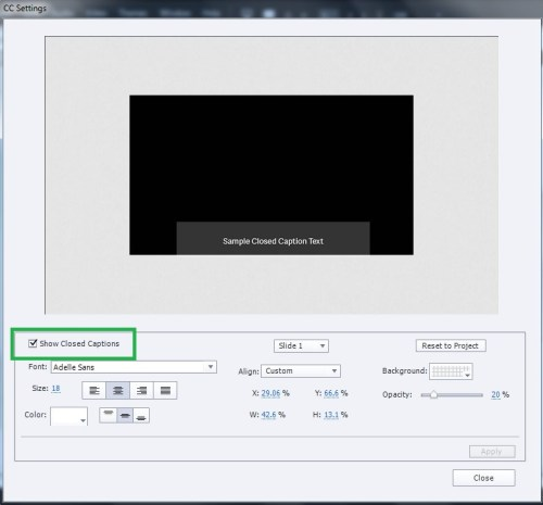 Adobe Captivate 2017: How to add closed captions to videos