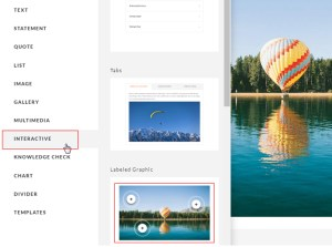Then, click on the Interactive block type and select Labeled Graphic layout.