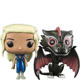 Funko Pop Game of Thrones 2 Pack Daenerys and Drogon (Metallic)