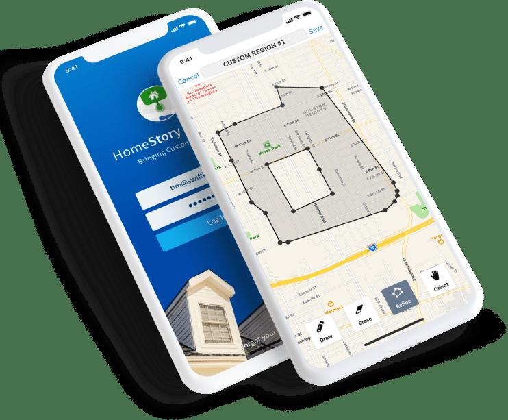 Custom HomeStory iOS mobile application using maps and advanced drawing tools