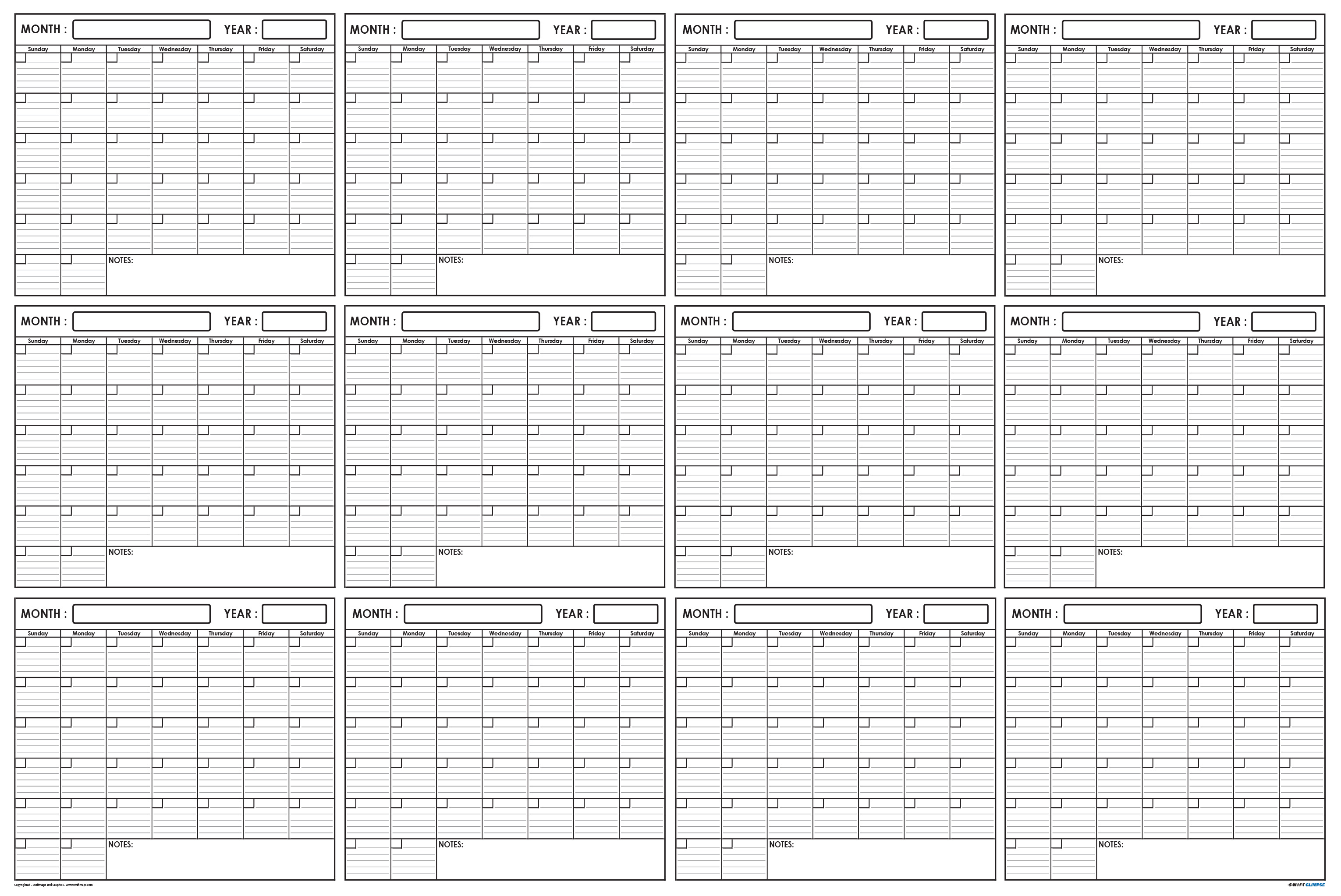 Swiftglimpse Annual Blank Yearly Wall Planning Calendar Wet Dry Erase