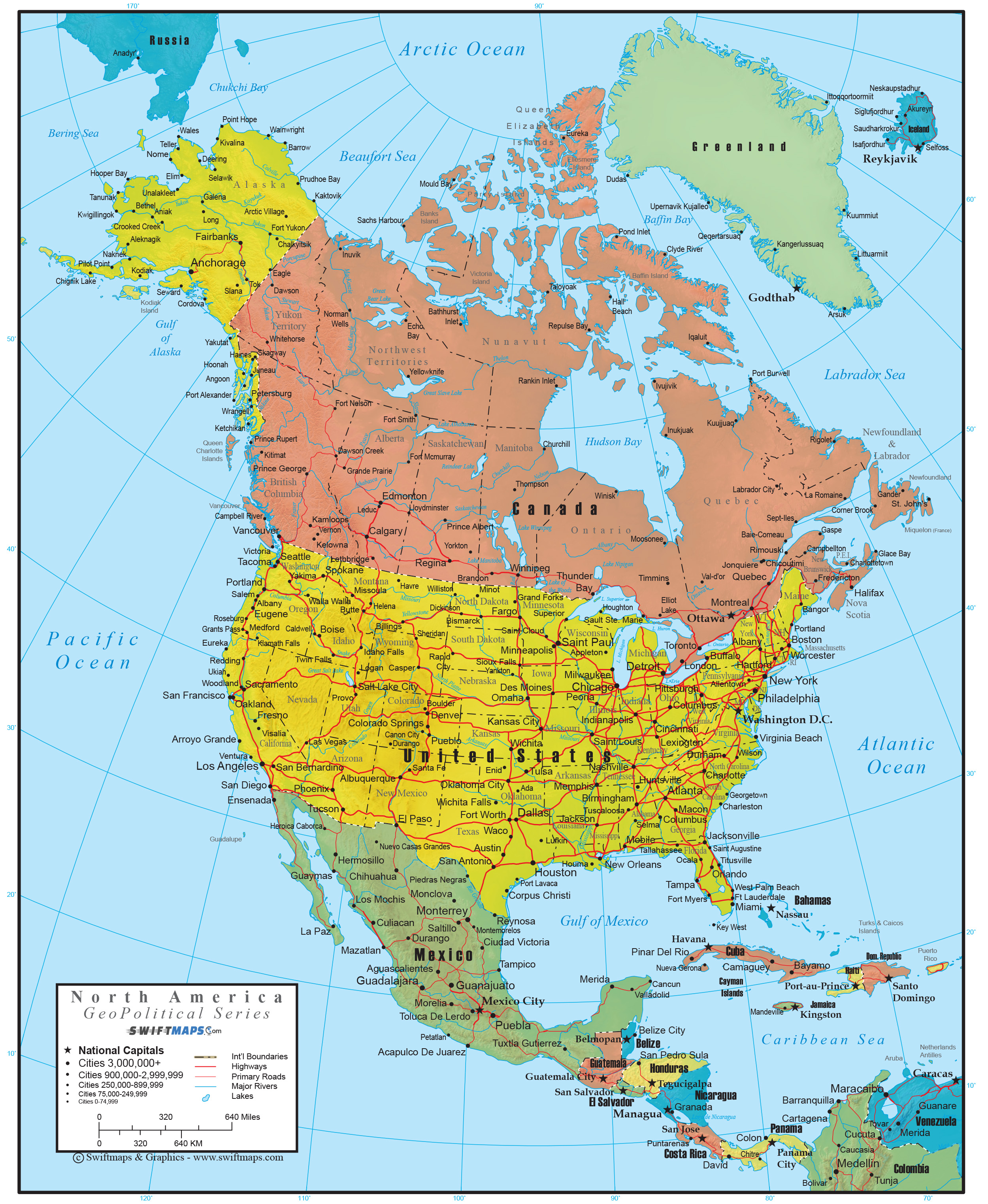 North America Wall Map Geopolitical Deluxe Edition