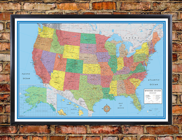 classic elite united states wall map poster