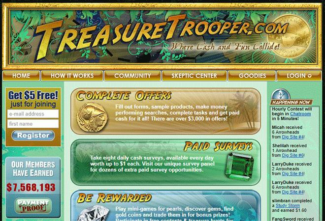 Treasure trooper homepage $5 bonus
