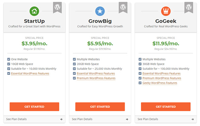 SiteGround wordpress packages
