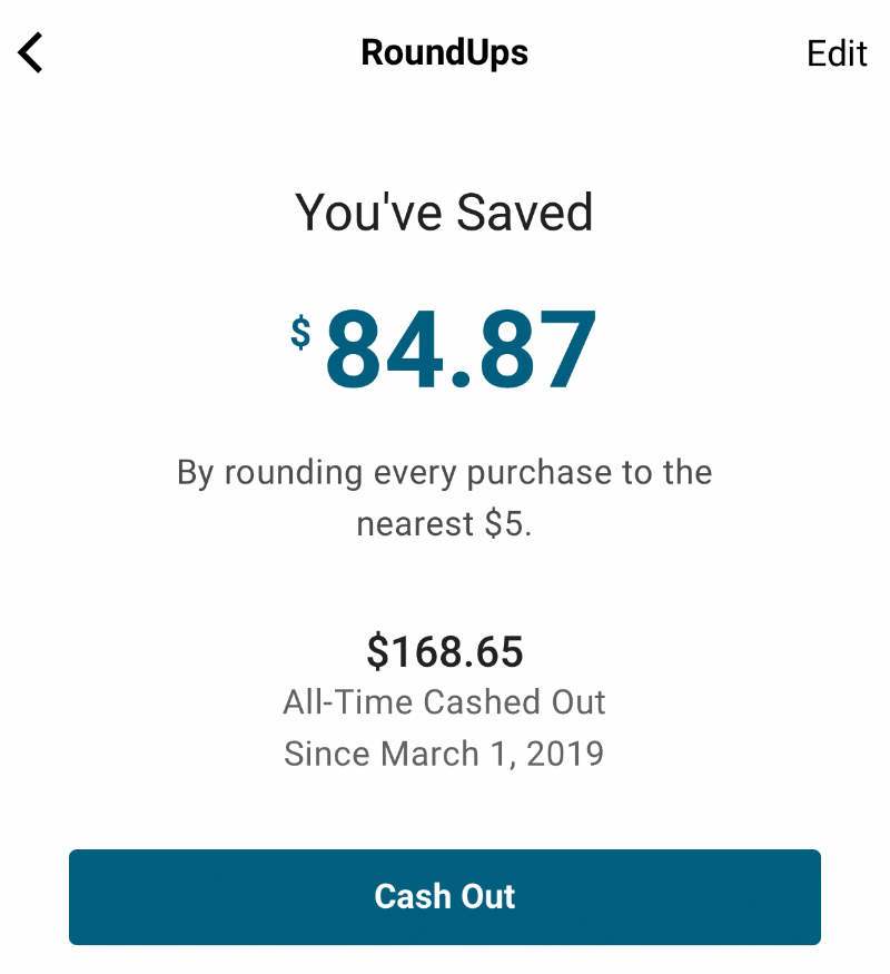 Money saved using RoundUps