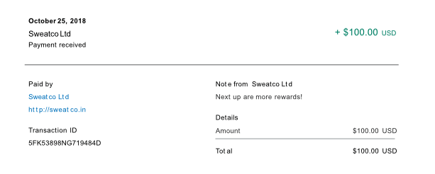 Sweatcoin payment proof from Paypal for $100 USD