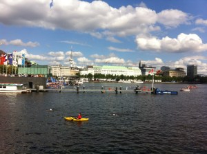 Lining up at the edge of the Binnenalster before the start of the ITU World Triathlon Hamburg