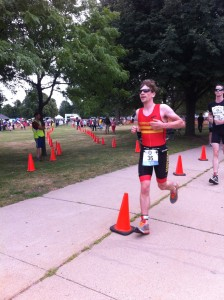 Just out of T2 on the run course at Boston Triathlon.