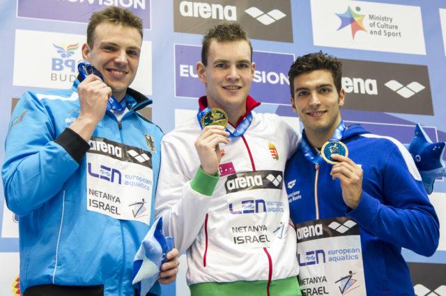 LEN European Short Course Swimming Championships BERNEK Peter HUN, BIEDERMANN Paul GER, DETTI Gabriele ITA