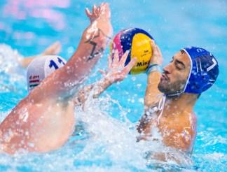 LEN European Water Polo Championships 2016 Hungary HUN (White) Vs Greece GRE (Blue) Men 7 AFROUDAKIS Christos C GRE Kombank Arena, Belgrade, Serbia Day02 11-01-2016 Photo P. Mesiano/Insidefoto/Deepbluemedia