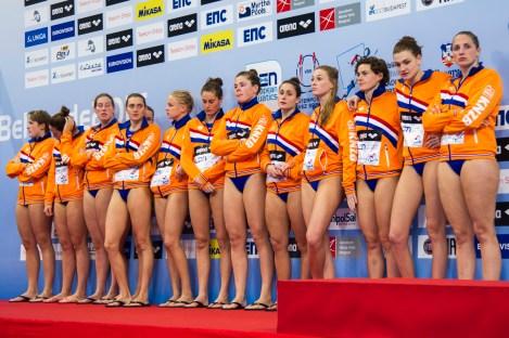 Podio Team Netherlands Silver Medal LEN European Water Polo Championships 2016 Kombank Arena, Belgrade, Serbia Day13 22-01-2016 Photo G. Scala/Insidefoto/Deepbluemedia
