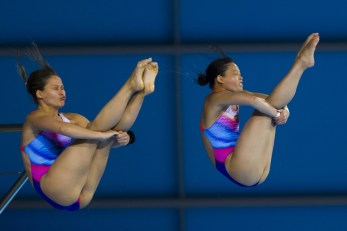 Team GER KURJO Maria PHAN My gold medal London, Queen Elizabeth II Olympic Park Pool LEN 2016 European Aquatics Elite Championships Diving Women's 10m synchronised platform final Day 02 10-05-2016 Photo Giorgio Perottino/Deepbluemedia/Insidefoto