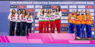 4x200 Free Women (L to R) ESP Spain; HUN Hungary; NED Nederland 4x200 Freestyle Relay Women Podium London, Queen Elizabeth II Olympic Park Pool LEN 2016 European Aquatics Elite Championships Swimming day 04 heats Day 11 19-05-2016 Photo Giorgio Scala/Deepbluemedia/Insidefoto