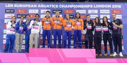 ITALY ITA Silver Medal Erika FERRAIOLI, Federica PELLEGRINI, Filippo MAGNINI, Luca DOTTO NETHERLANDS NED Gold Medal VERSCHUREN Sebastiaan SCHWIETERT Ben V.D. MEER Maud KROMOWIDJOJO Ranomi FRANCE Bronze Medal MIGNON Clement STRAVIUS Jeremy BONNET Charlotte SANTAMANS Anna 4x100m Mixed Freestyle Final London, Queen Elizabeth II Olympic Park Pool LEN 2016 European Aquatics Elite Championships Swimming Day 12 20-05-2016 Photo Giorgio Scala/Deepbluemedia/Insidefoto