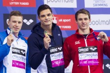 Podium - MANAUDOU Florent FRA gold medal, GOVOROV Andriy UKR silver medal, PROUD Benjamin GBR bronze medal London, Queen Elizabeth II Olympic Park Pool LEN 2016 European Aquatics Elite Championships Swimming Men's 50m freestyle final Day 14 22-05-2016 Photo Giorgio Perottino/Deepbluemedia/Insidefoto