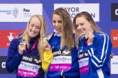 Podium - JOHANSSON Jennie SWE gold medal, LUTHERSDOTTIR Hrafnhildu ISL silver medal, LAUKKANEN Jenna FIN bronze medal London, Queen Elizabeth II Olympic Park Pool LEN 2016 European Aquatics Elite Championships Swimming Women's 4x100m medley final Day 14 22-05-2016 Photo Giorgio Perottino/Deepbluemedia/Insidefoto