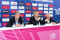 (L to R) Marco Birri, LEN; Paolo Barelli LEN president; Maurice Watkins British Swimming Chairman London, Queen Elizabeth II Olympic Park Pool LEN 2016 European Aquatics Elite Championships Press Conference Day 00 07-05-2016 Photo Giorgio Scala/Deepbluemedia/Insidefoto