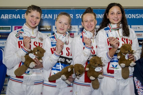 Russian Federation RUS 4X100 Medley Relay Women Final Gold Medal LEN 43rd Arena European Junior Swimming Championships Hodmezovasarhely, Hungary Day03 08-07-2016 Photo Andrea Masini/Deepbluemedia/Insidefoto