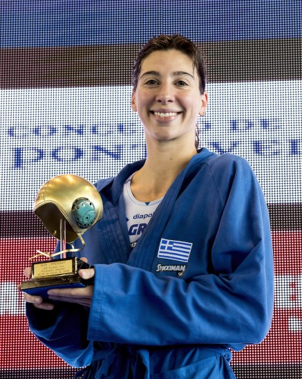 13 Diamantopoulou GRE MVP Most Valuable Player of the torunament 1st LEN Women Europa Cup GRE - RUS Greece (white cap) - Russia(blue cap) Gold Final 1st - 2nd place Water Polo, Pallanuoto Pontevedra, Spain Complejo Rias do sur Day03 Photo © Giorgio Scala/Deepbluemedia/Insidefoto