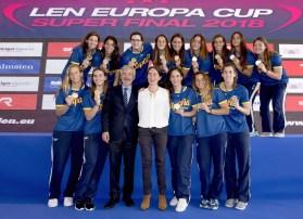 Spain bronze 1st LEN Women Europa Cup GRE - RUS Greece (white cap) - Russia(blue cap) Gold Final 1st - 2nd place Water Polo, Pallanuoto Pontevedra, Spain Complejo Rias do sur Day03 Photo © Giorgio Scala/Deepbluemedia/Insidefoto
