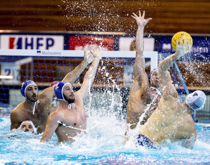2 GENIDOUNIAS GRE, 4 ZALANKI HUN HUN - GRE Hungary (white cap) -Vs. Greece (blue cap) LEN Europa Cup Men 2018 finals Water Polo, Pallanuoto Rijeka, CRO Croatia Day01 Photo © Giorgio Scala/Deepbluemedia/Insidefoto