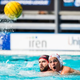 Olympiacos (white cap) vs Spandau (blue cap) 7 DERVISIS Georgios, 2 SAUDADIER Remi LEN Champions League Final Eight 2018 Piscina Sciorba Genova Italy Photo © G.Scala/Deepbluemedia/inside