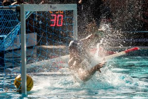 Brescia (white cap) vs Szolnoki (blue cap) 1 DEL LUNGO Marco LEN Champions League Final Eight 2018 08/06/2018 Semi Final 5-8 Piscina Sciorba Genova Italy Photo © G.Scala/Deepbluemedia/inside