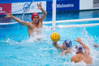 Spandau (white cap) vs Eger (blue cap) 1 BAKSA Laszlo, 11 BEDO Krisztian LEN Champions League Final Eight 2018 08/06/2018 Semi Final 5-8 Piscina Sciorba Genova Italy Photo © G.Scala/Deepbluemedia/inside
